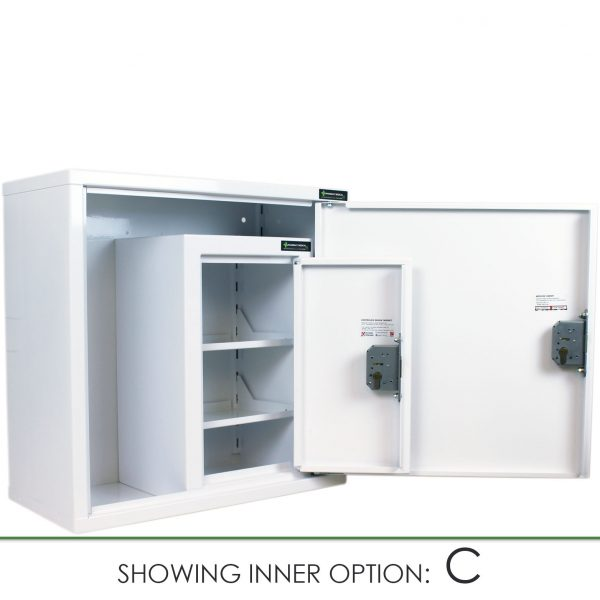 CMED200 medicine cabinet with internal controlled drugs cabinet option C