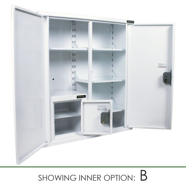 CMED402 medicine cabinet with internal controlled drugs cabinet option B