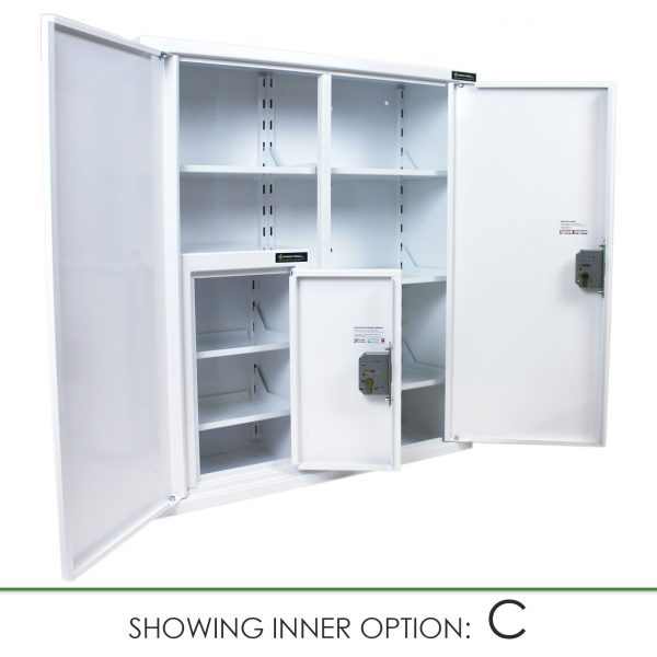 CMED402 medicine cabinet with internal controlled drugs cabinet option C