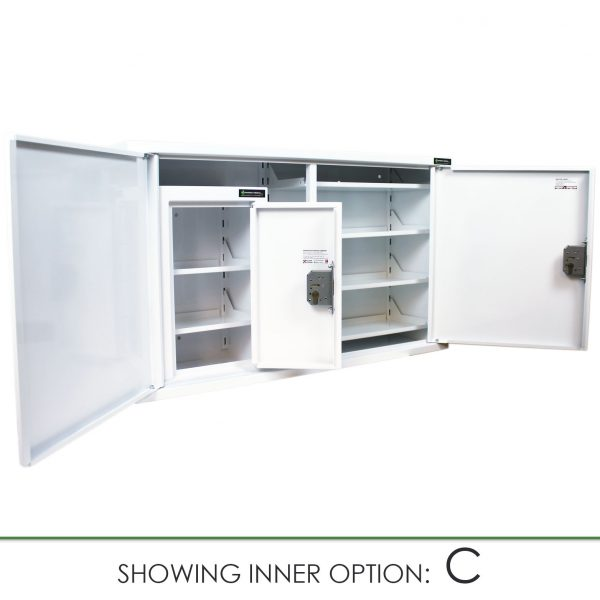 CMED403 medicine cabinet with internal controlled drugs cabinet option C