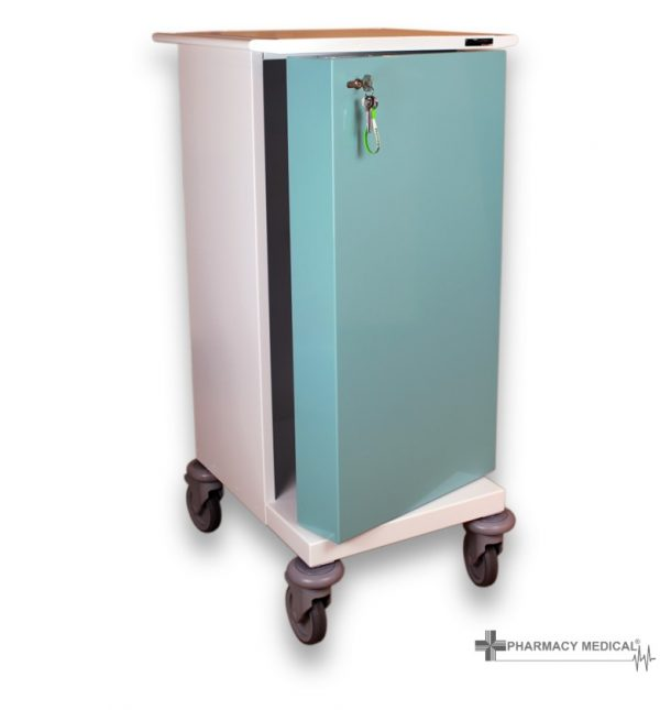Small MDS Drugs trolley with door open