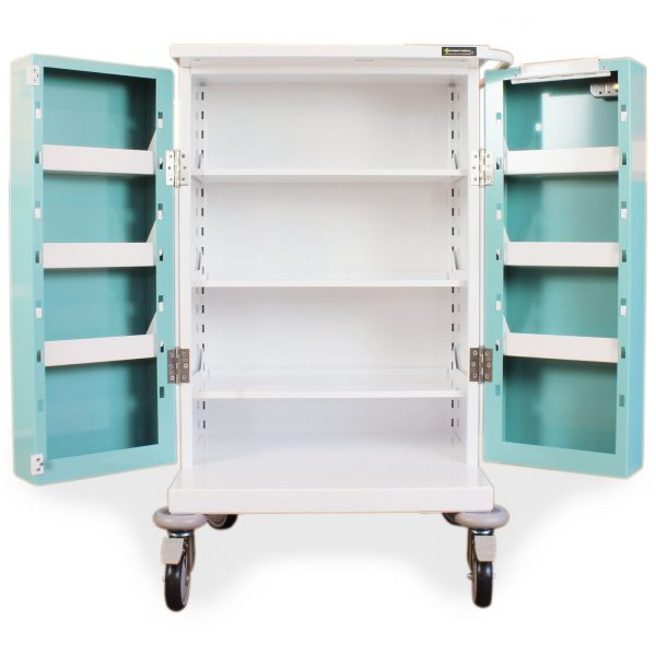 PM220 Medicine Drugs Trolley Showing Double Doors open