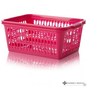 bright pink dispensing baskets