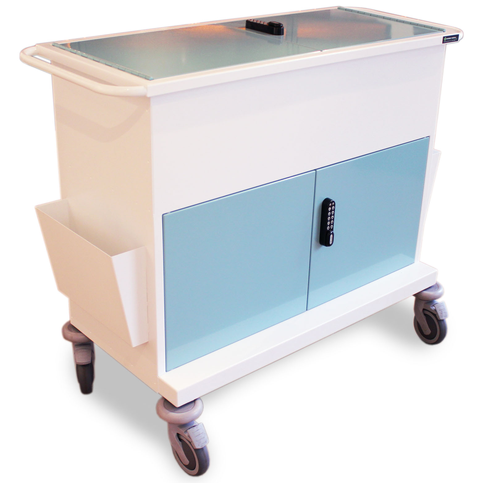 large secure medical records trolley